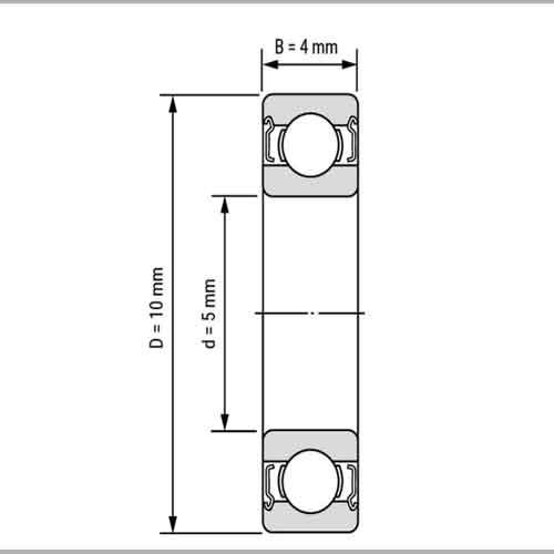 ابعاد بلبرینگ شیار عمیق 105ZZ